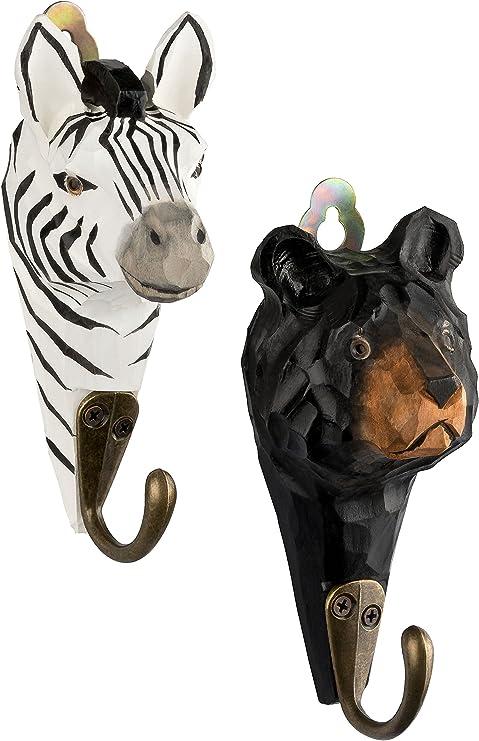 2/Perchero Gancho de madera oso y Zebra con ganchos de metal hecho a mano 13/cm habitaci/ón de los Ni/ños