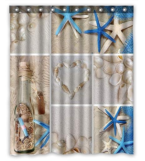 Beach Conchas Estrellas Cortina De Ducha Tela Impermeable Baño Conjunto Alfombra Ganchos