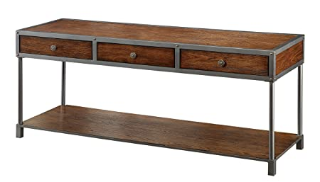 Furniture of America Castor Industrial TV Console, 60-Inch, Antique Oak
