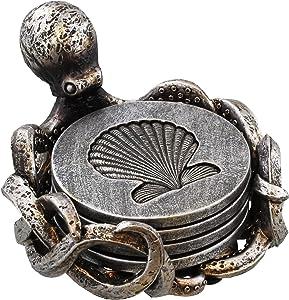 Old River Outdoors Octopus Coaster Set - Nautical Ocean Beach Sea Shell Coastal Decor