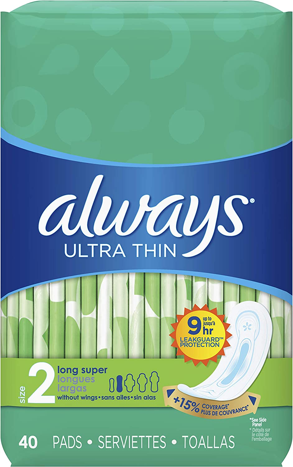 ALWAYS Ultra Thin Size 2 Super Pads Without Wings Unscented, 40 Count (Pack of 3): Health & Personal Care