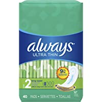 Always Ultra Thin Size 2 Feminine Pads without Wings, Super Absorbency, Unscented, 40 Count - Pack of 3 (120 Total Count) (Packaging May Vary)