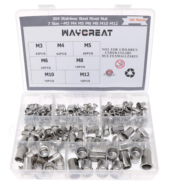 Waykino Stainless Steel Rivet Nut, Threaded Rivetnut Insert Nutsert M3 M4 M5 M6 M8 M10 M12 Assortment Kit, 189-Pack