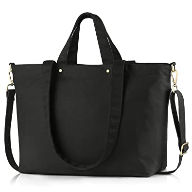 9e16a84acb45 Amazon.com  BONTHEE Canvas Tote Bag Handbag Women Large Shopper Shoulder Bag  for School Travel Work - Black  Shoes