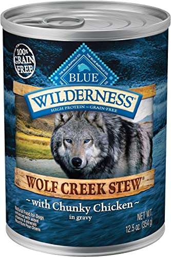 Blue Buffalo Wilderness Wolf Creek Stew High Protein Grain Free Natural Wet Dog Food, 12.5-oz cans Pack of 12