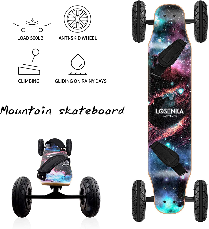 LOSENKA MountainBoard All Terrain Skateboard Kiteboard Cross Country Mountainboard Big Wheel Downhill Longboard All Terrain Longboard Kite Board with Bindings for Cruising and Downhill