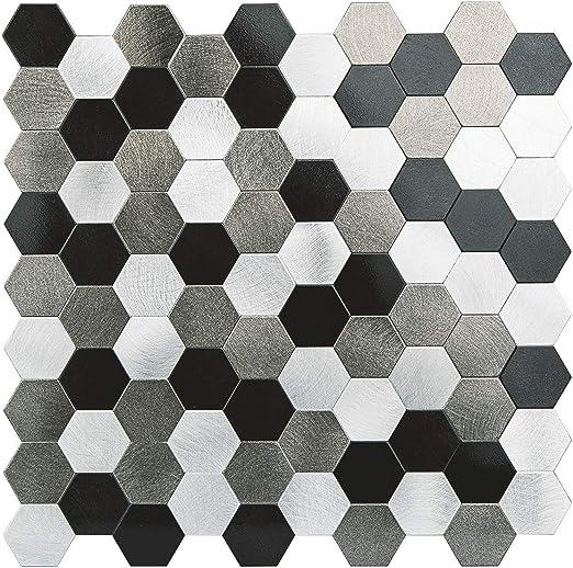 5PC Self Adhesive Metal Peel and Stick Tiles Wall Backsplash Aluminum Hexagon US