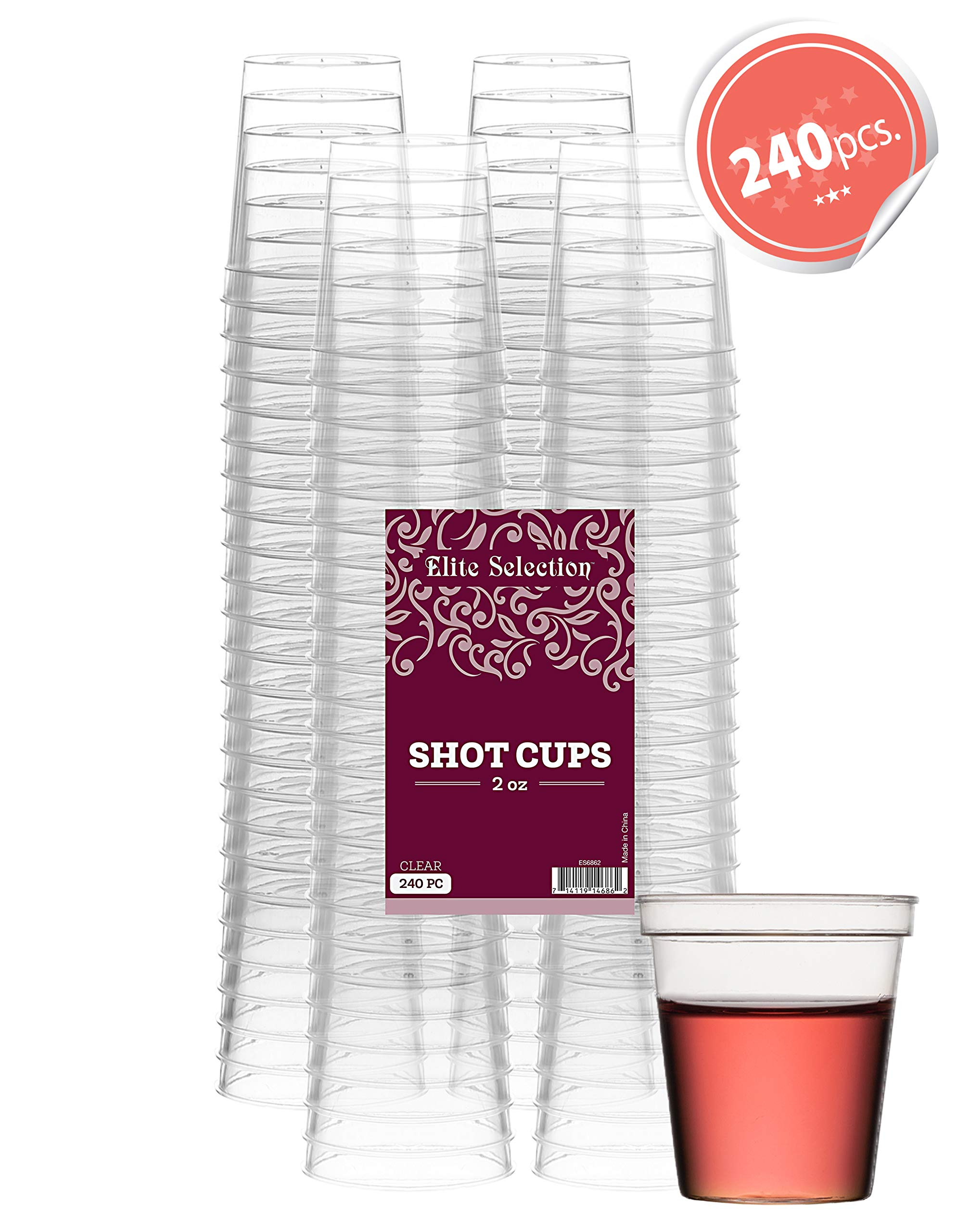 Elite Selection Shot Glasses | 2 Oz. Clear Plastic Disposable Cups | Perfect Party Shot Cups for Shots, Tasting, Sauce, Dips | Pack of 240 by ELITE SELECTION