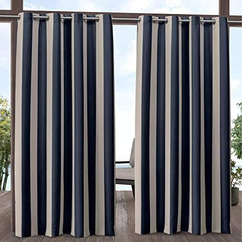 Exclusive Home Curtains Canopy Stripe Indoor Outdoor Grommet Top Curtain Panel Pair, 54×108, Navy Sand