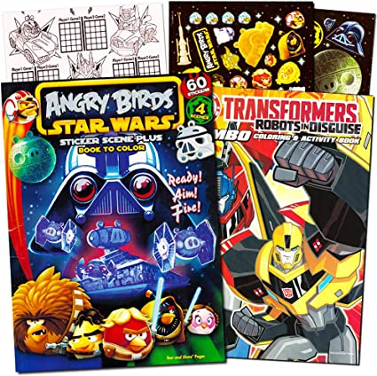 Amazon.com: Angry Birds And Transformers Coloring Book Bundle With