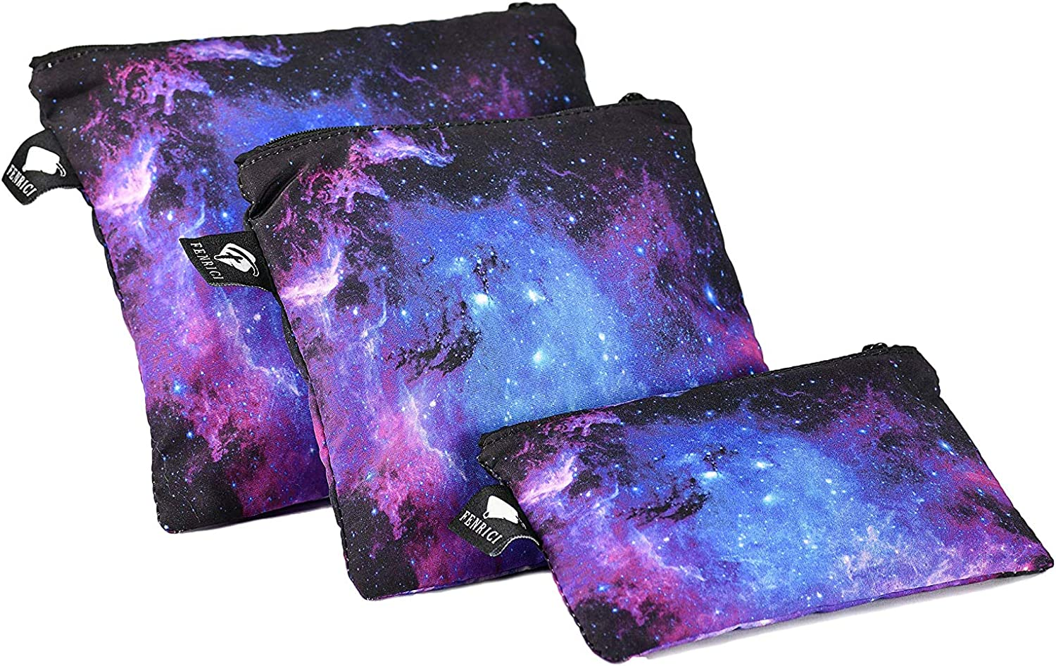 Reusable Sandwich Bags by Fenrici, Dishwasher Safe, BPA-Free, Food Safe, Eco Friendly, Snack Bags with Zipper, Preserves Snacks and Sandwiches, Lead-Free, Galaxy Purple (3 Pack)