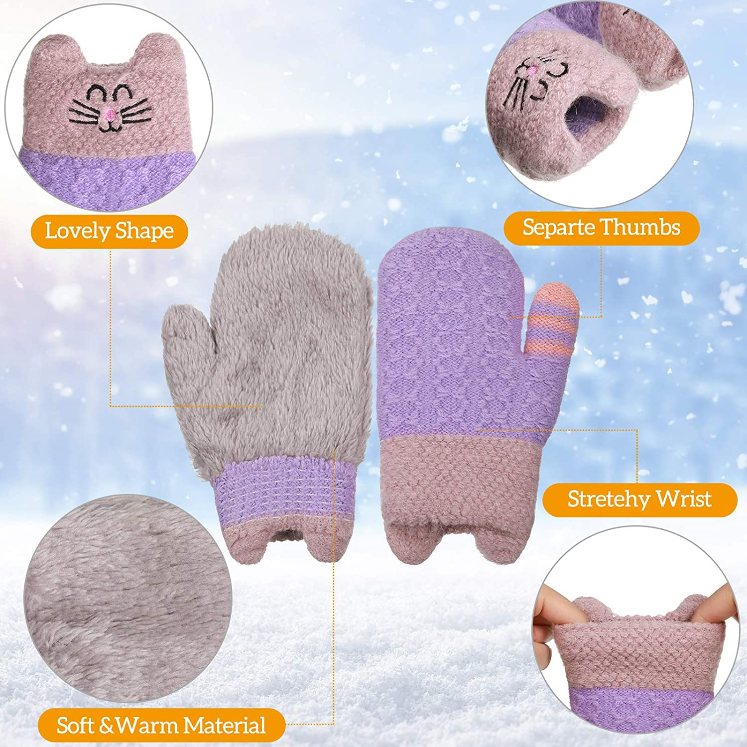 4 Pairs Kids Knit Mittens Gloves Cute Cat Pattern Warm Thick Thermal Gloves for Winter Toddler Boys and Girls