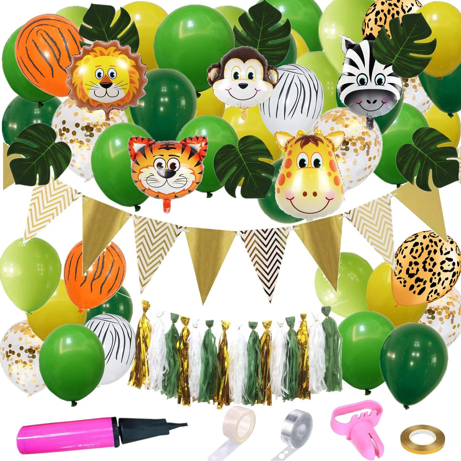 Jungle Safari Themed Party Decoration, Animals Party Supplies for Boys and Girls Birthday, Baby Shower Decoration Neutral, Animals Foil Balloons, Green and Gold Balloons Garland Kit, Paper Tassels, Palm Leaves, Gold Triangle Banners, Attached Tools