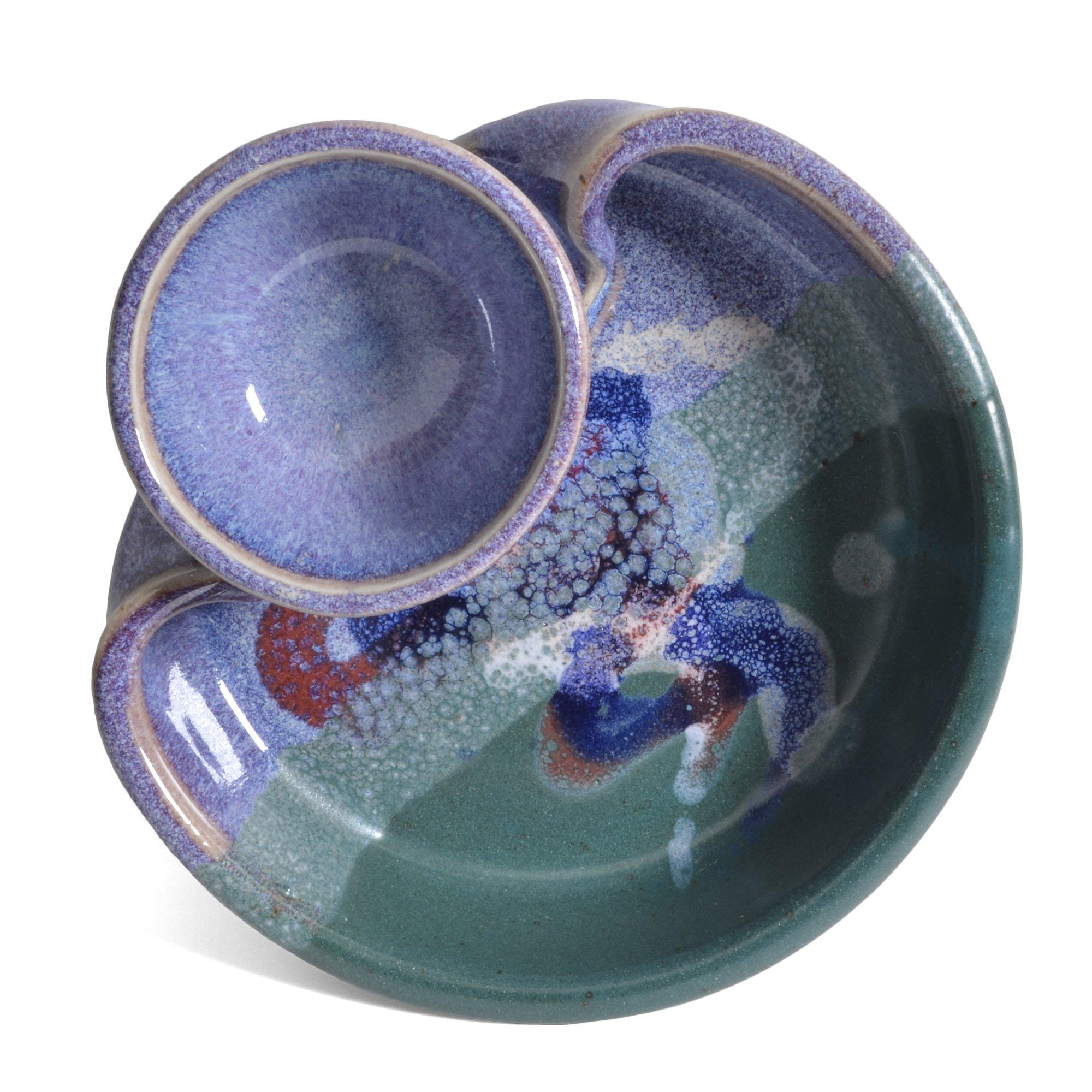 Larrabee Ceramics Shrimp and Dip Bowl, Mauve/Green