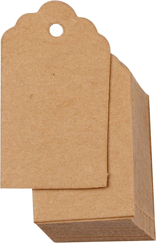 Belle Vous Etiquetas de Regalo (Pack de 1000) - (4 x 2cm) Etiquetas Carton Kraft Etiquetas para Precios Mercancía, Colgar Etiquetas - Etiquetas para Bodas, Cumpleaños, Regalos Bodas