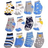 Baby Non Slip Toddler Socks, 12 Pairs Soft Cotton Crew Socks For 0-1/1-3/3-5/ Years Old Boys Girls Kids Children…