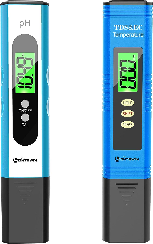 Lightswim Probador de calidad del agua, medidor de pH con resolución de alta precisión 0.01, medidor de temperatura 3 en 1 TDS + EC + para agua potable, acuario, piscina, spa (blanco)