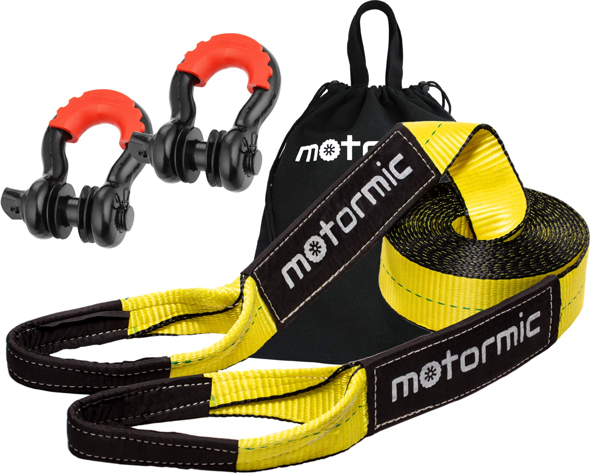 motormic Tow Strap Recovery Kit - 20 ft x 3 in (30,000 lbs.) Tow Rope + 3/4'' D Ring Shackles (2pcs.) + Storage Bag - Heavy Duty Straps for Winch - Truck, Car, ATV, Off Road Vehicle Towing by motormic