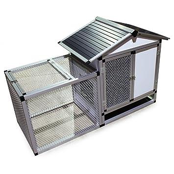 Conejera exterior de aluminio parque Jaula espacio libre caseta para animales pequeños roedores: Amazon.es: Jardín