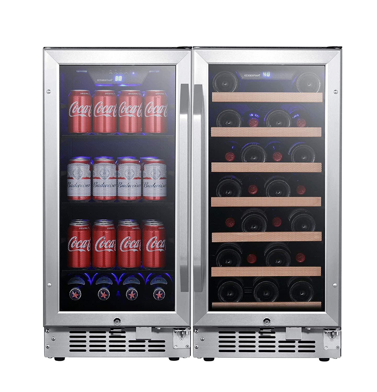 EdgeStar CWBV80301 30 Inch Wide 30 Bottle 80 Can Side-by-Side Wine and Beverage Cooler
