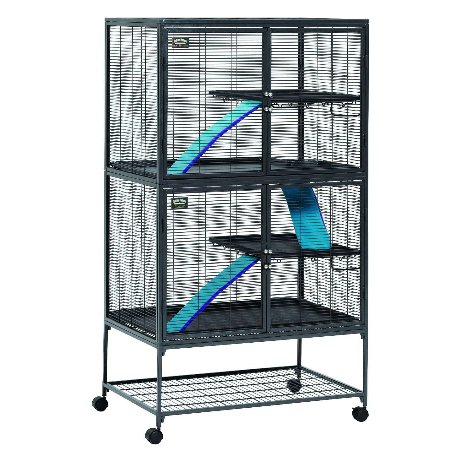 MidWest Deluxe Critter Nation Double Unit Small Animal Cage (Model 162) Includes 2 leak-Proof Pans, 2 Shelves, 3 Ramps w/ Ramp Covers & 4 locking Wheel Casters, Measures 36''L x 25''W x 62.5''H Inches, Ideal for Dagus, Rats, Ferrets, Sugar Gliders