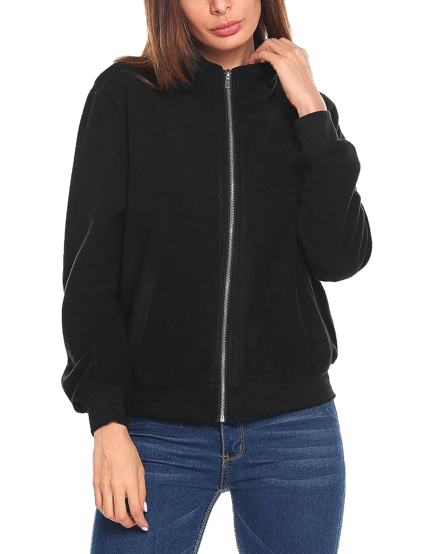 Zeagoo Women's Fleece Coat Full-Zip Stand Collar Biker Bomber Jacket