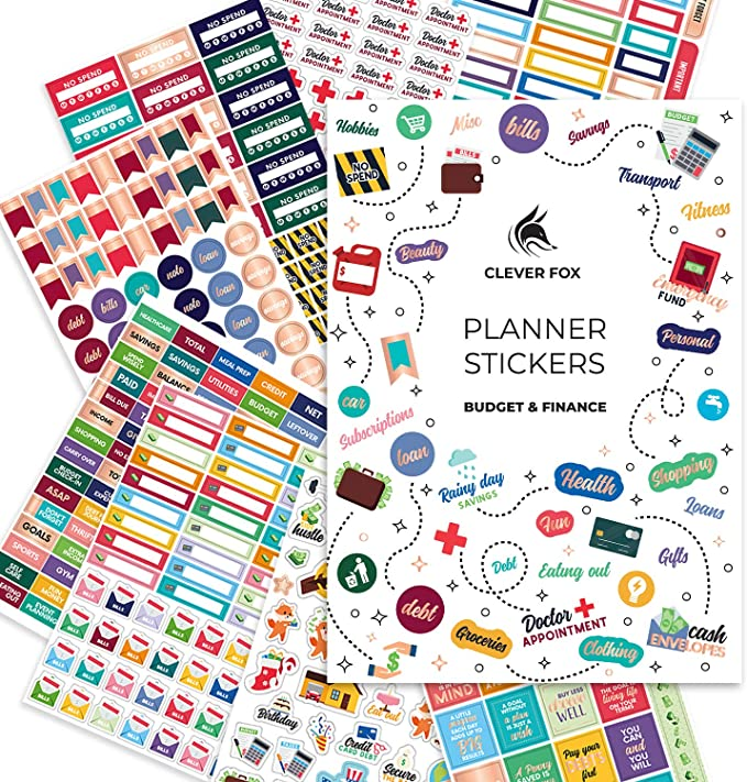 Amazon.com: Budget Stickers by Clever Fox - 14 Sheets Set of 1030+ Unique Budget Planner Stickers for Your Monthly, Weekly & Daily Planner, Budget Planner, Calendar or Journal, Budget Sticker Book (Budget Pack): Office Products