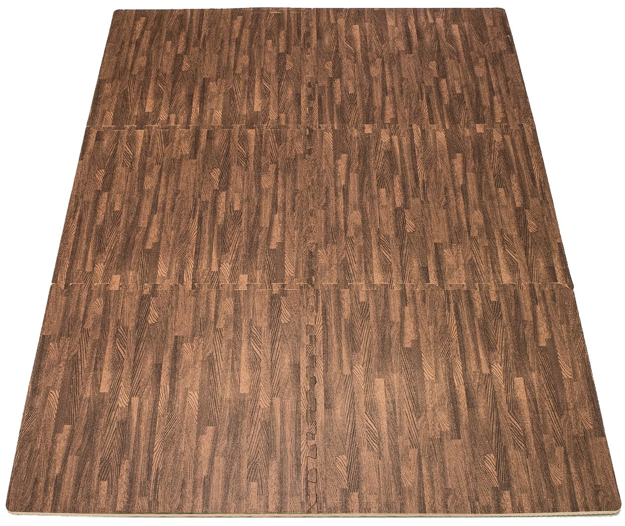Sorbus Interlocking Floor Mat Print, Wood Grain - Dark (6-Piece) by Sorbus (Image #6)
