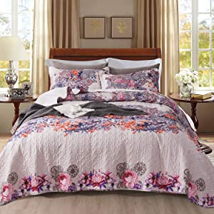NEWLAKE Quilt Bedspread Sets-Colorful Vector Floral Pattern Reversible Coverlet Set,Queen Size