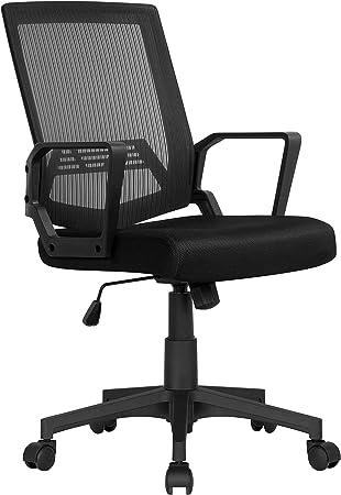 Yaheetech Chaise de Bureau en Maille Respirant Fauteuil de Bureau Inclinable Hauteur Réglable avec Accoudoirs Noir