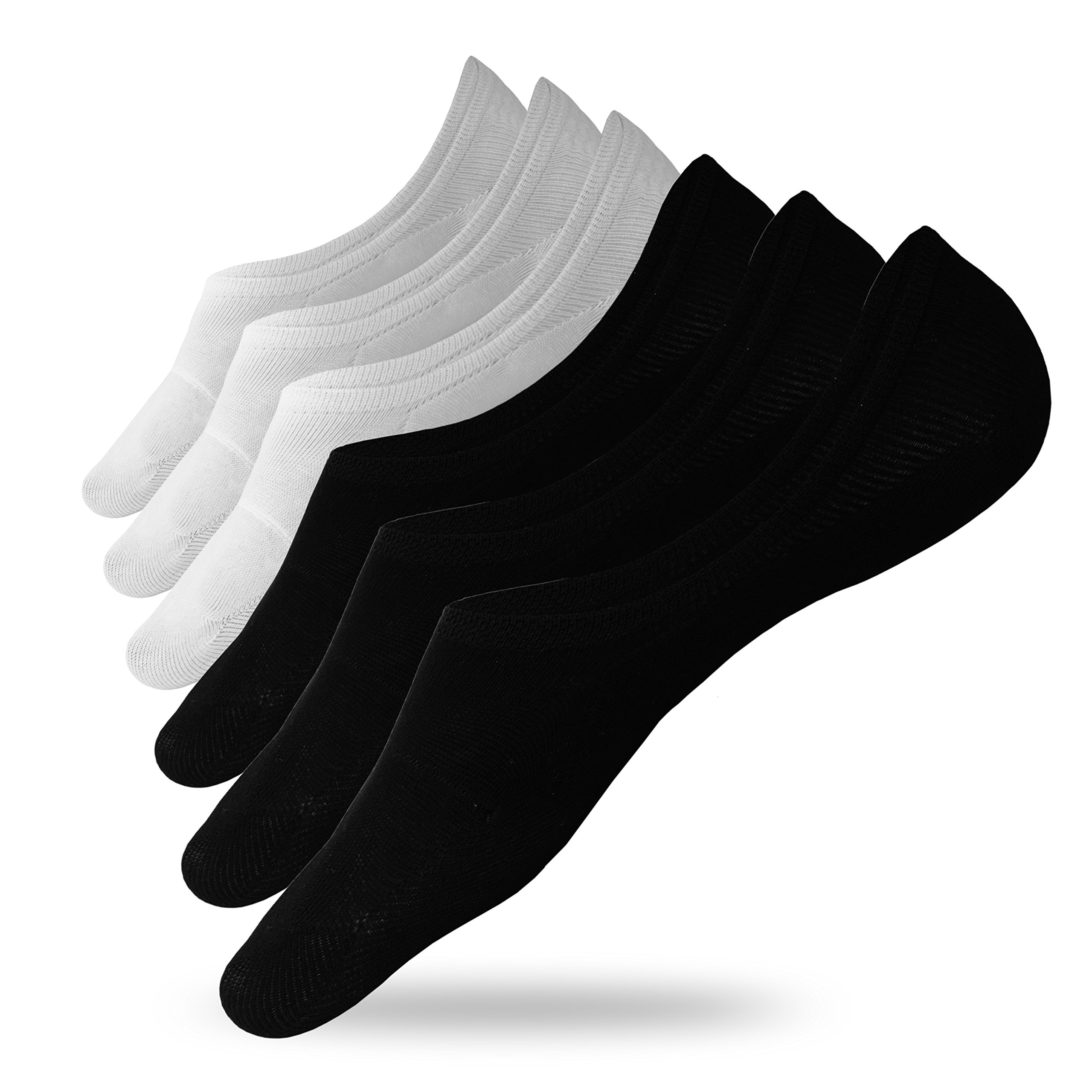 Eedor 6 Pack Mens No Show Socks Casual Low Cut Thin Loafers Invisible Non Slip Boat Liners X17 Black and White