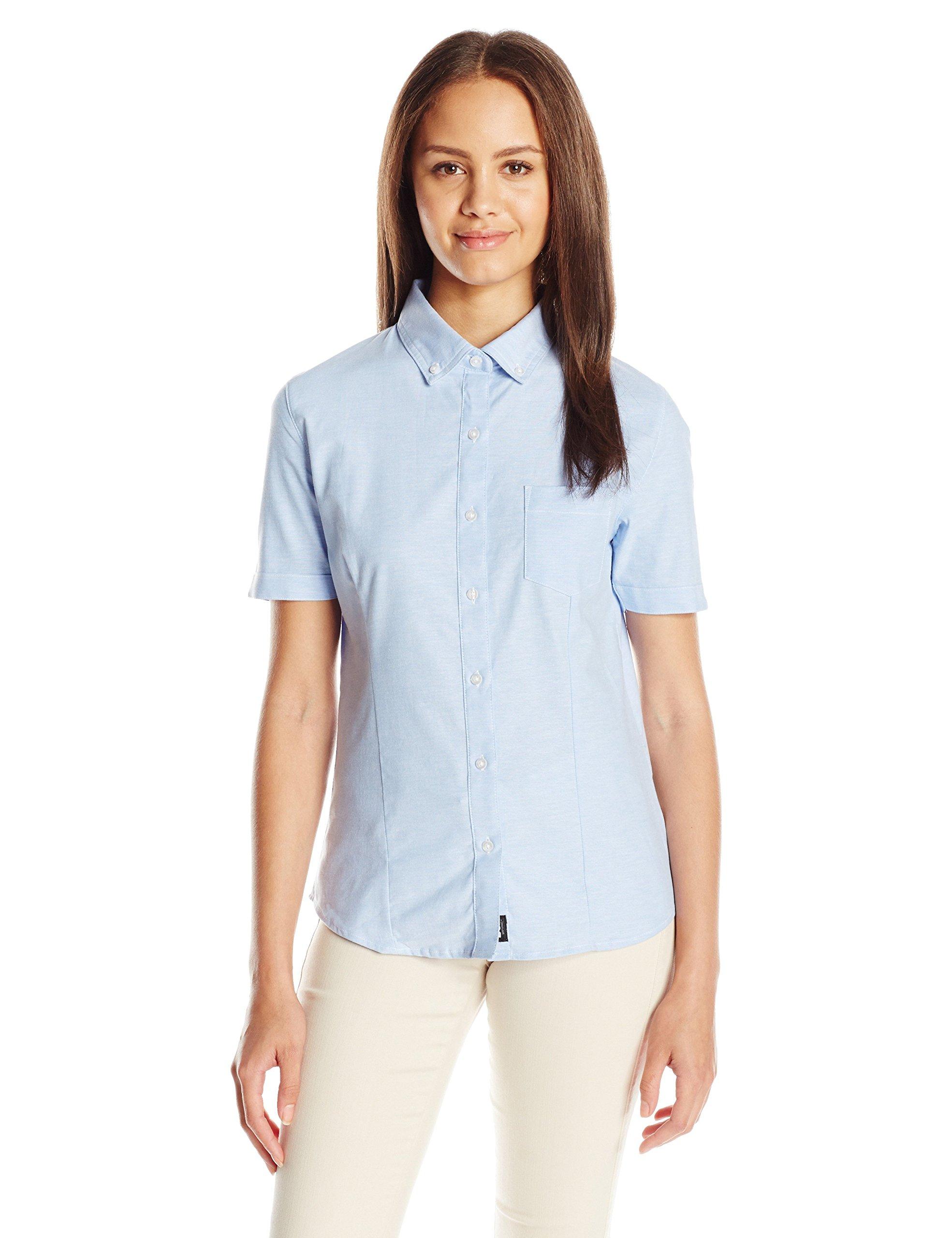 LEE Uniforms Junior's Short Sleeve Stretch Oxford Blouse, Light Blue, X-Large