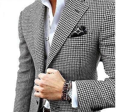 YSMO Herren Anzüge Slim Fit Checkered Schwarz Anzug 2 Stück Blazer Jacke  und Hose 0cddef4111