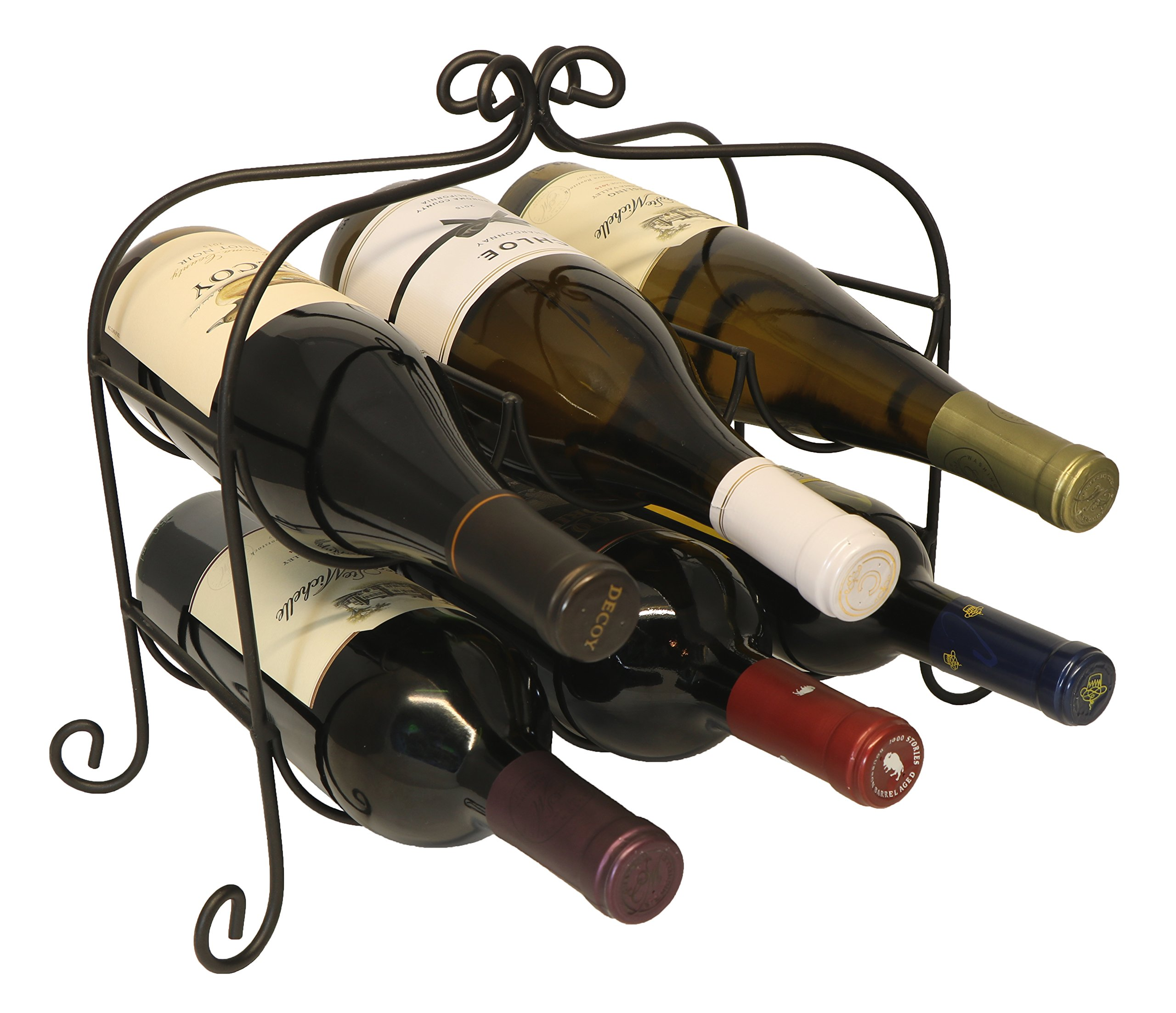 Annabel 6 Bottle Metal Wine Rack for Tabletop or Countertop by KitchenEdge, Free Standing, Black, Wrought Iron
