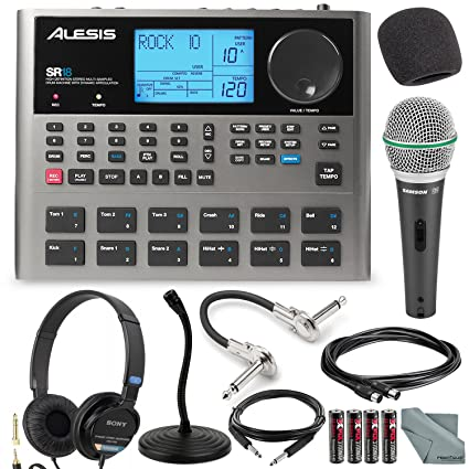 Alesis SR18 18 Bit Portable Drum Machine with Effects and Deluxe Bundle  w/Microphone + Headphone + Cables + Fibertique + Batteries + Mic Stand &