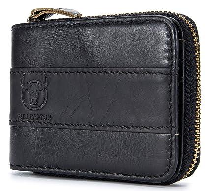 e3022106c1ba RFID Blocking Mens Leather Zipper wallet,Zip Around Vintage Bifold Multi  Credit Card Holder