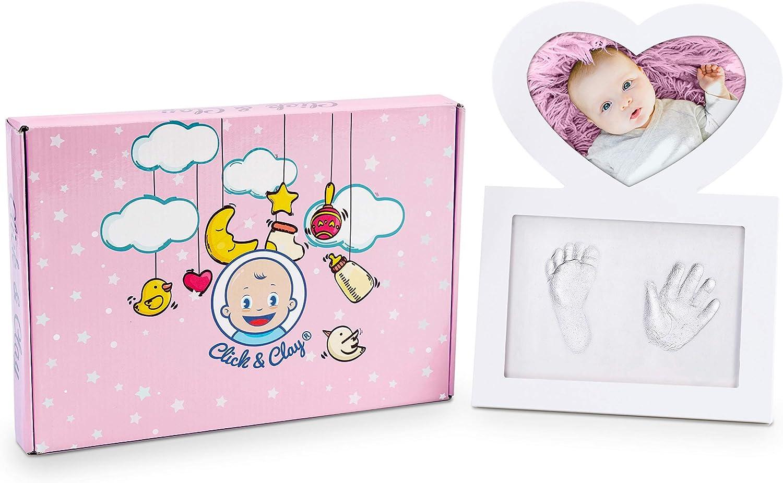 Click & Clay – Cornice Portafoto a Forma di Cuore con Kit per Impronte Manina e Piedino Neonato