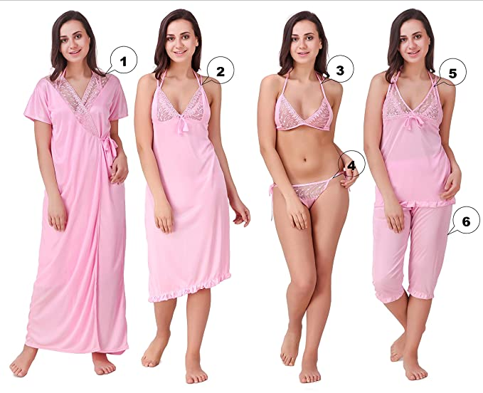 Freely Baby-Pink Color Satin Honeymoon wear - Pack of 6  Amazon.in ... d1f49b783