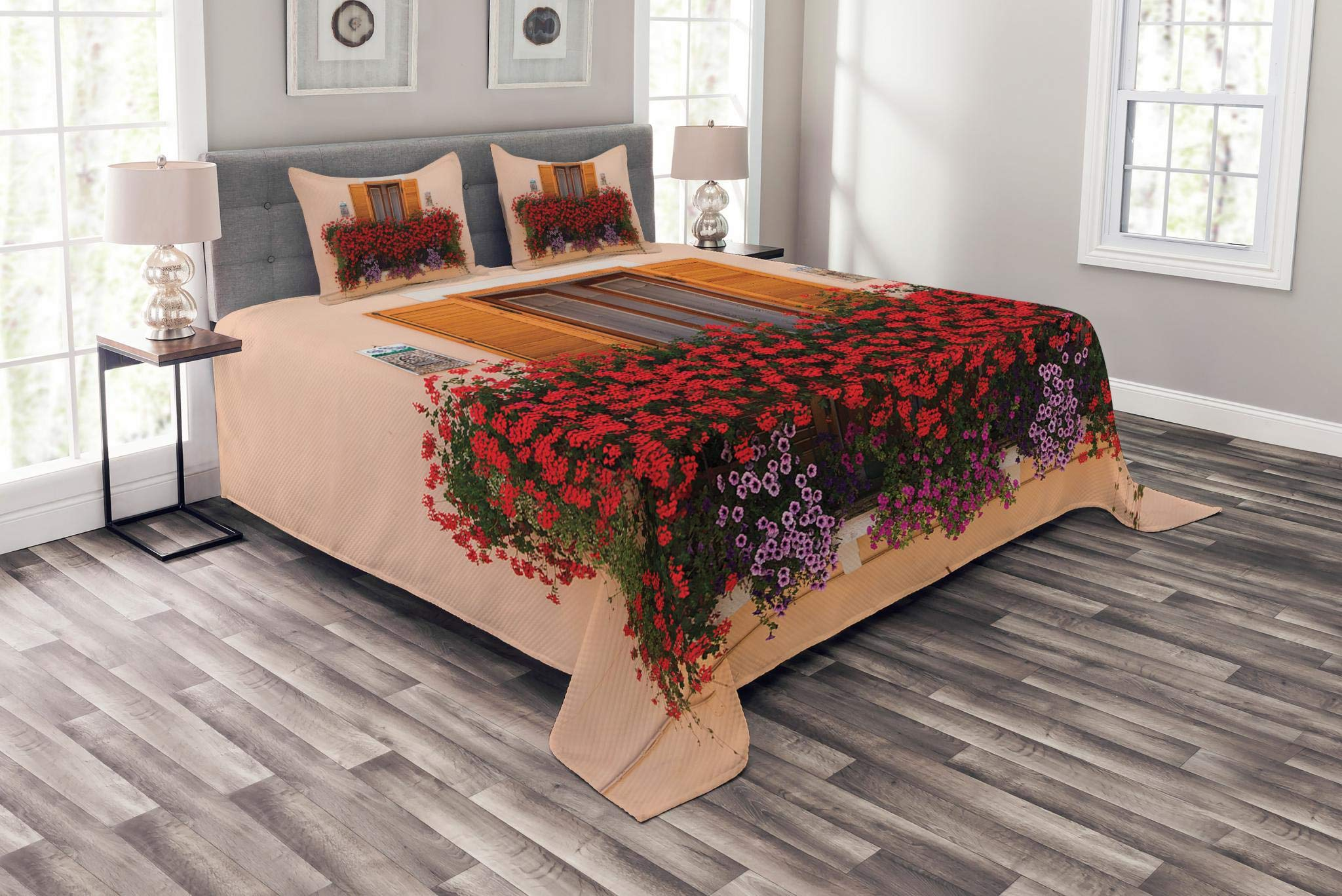 Lunarable Shutters Bedspread Set King Size, Photo of Window with Fresh Flowers Mediterranean Summertime Traditional House, Decorative Quilted 3 Piece Coverlet Set with 2 Pillow Shams, Red Peach Green