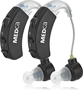 Behind The Ear Sound Amplifier - BTE Hearing Ear Amplification Device and Digital Sound Enhancer PSAD for The Hard of Hearing, Noise Reducing Feature, Black, by MEDca
