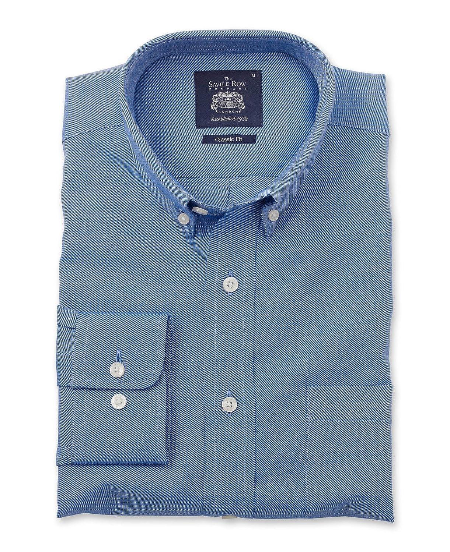 Savile Row Men's Blue Brushed Twill Smart-Casual Classic Fit Single Cuff Shirt