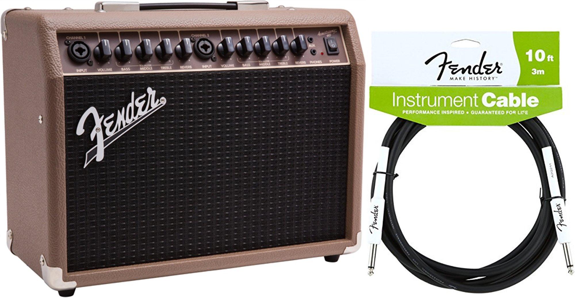 Fender Acoustasonic 40- 40w Acoustic Guitar Amp 120V w/ Instrument Cable