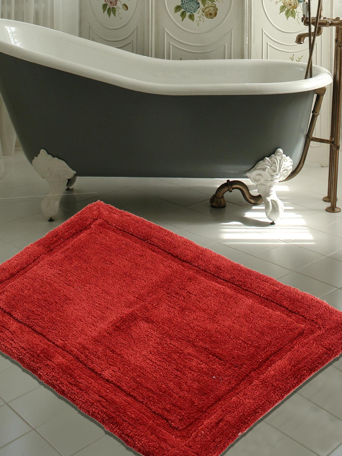 WARISI - Track Collection - Solids microfiber Bathroom, Bedroom Rug, 34 x 21 inches (Marsala)