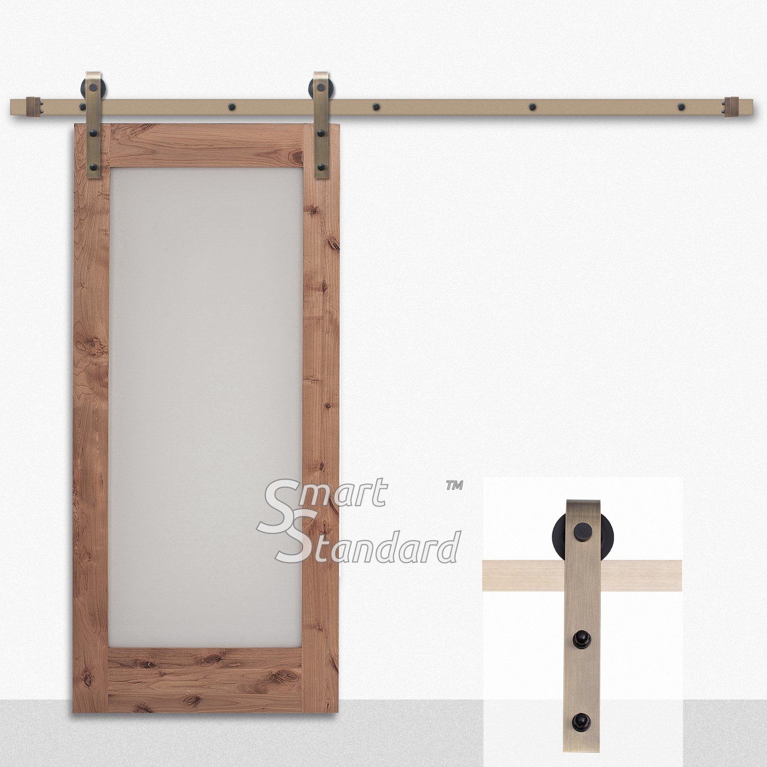 6.6ft Heavy Duty Bronze Sliding Barn Door Hardware Kit - Super Smoothly and Quietly - Simple and Easy to Install - Includes Step-by-Step Installation Instruction - Single Rail -Fit 36''-40'' Wide Door