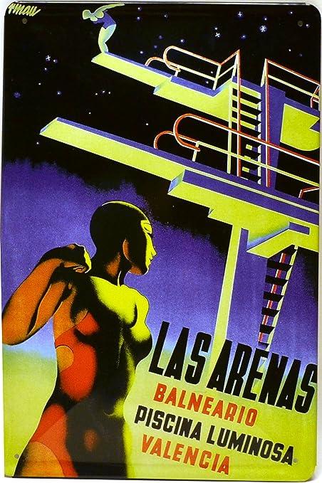 ART ESCUDELLERS Cartel Póster publicitario de Chapa metálica con diseño Retro Vintage de Catalunya/España. Tin Sign. 30 cm x 20 cm (Piscina Balneario Las Arenas): Amazon.es: Hogar