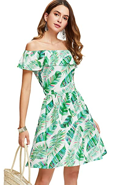 000bbf254bd2 Floerns Women s Off Shoulder Tropical Print A Line Dress White XL at Amazon  Women s Clothing store