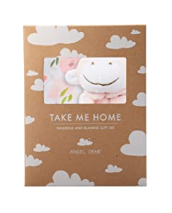 Angel Dear Swaddle and Blankie Gift Set, Pretty in Pink Floral with Pink Monkey