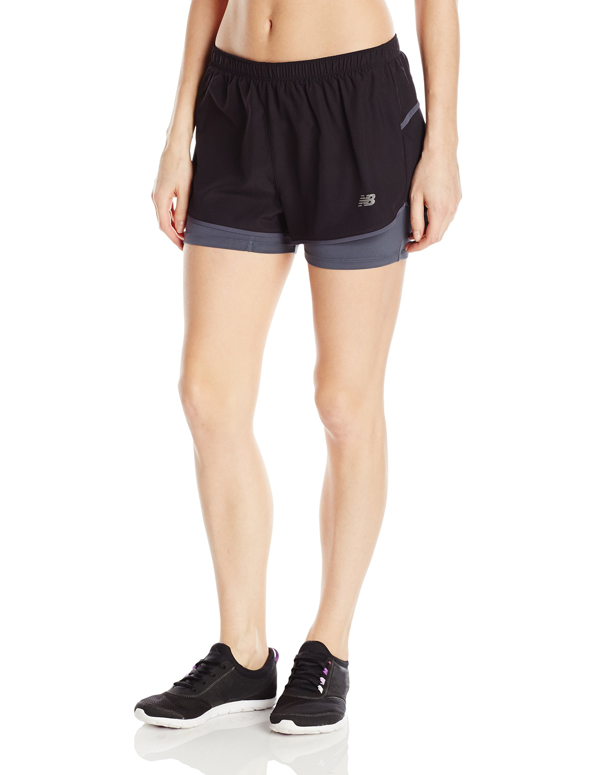New Balance Womens 3'' 2-in-1 Woven Short, Black, Large