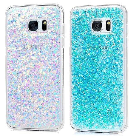 2x Carcasa Samsung Galaxy S7 Edge, Funda Silicona TPU Bling Lentejuelas Cubierta Glitter Sparkle Brillar Claro Cristal Bumper Case Cover Moda Tapa ...