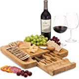 Bamboo Cheese Board Set With Cutlery In Slide-Out Drawer Including 4 Stainless Steel Serving Utensils - Perfect Charcuterie B